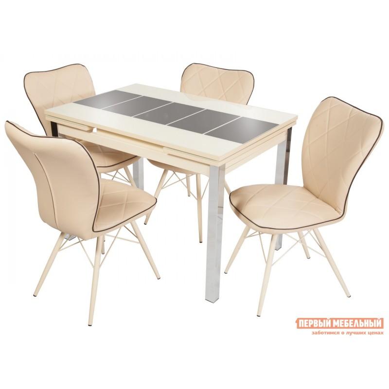Обеденная группа для столовой и гостиной  Стол Шанхай + 4 стула Риоха Молочный, Коричневый, Крем / Батлер 02; Nitro Brown; Молочный