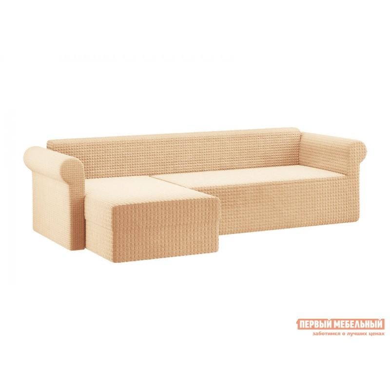 Чехол для мебели  Чехол на угловой диван с оттоманкой Ваниль, жатка, Левый
