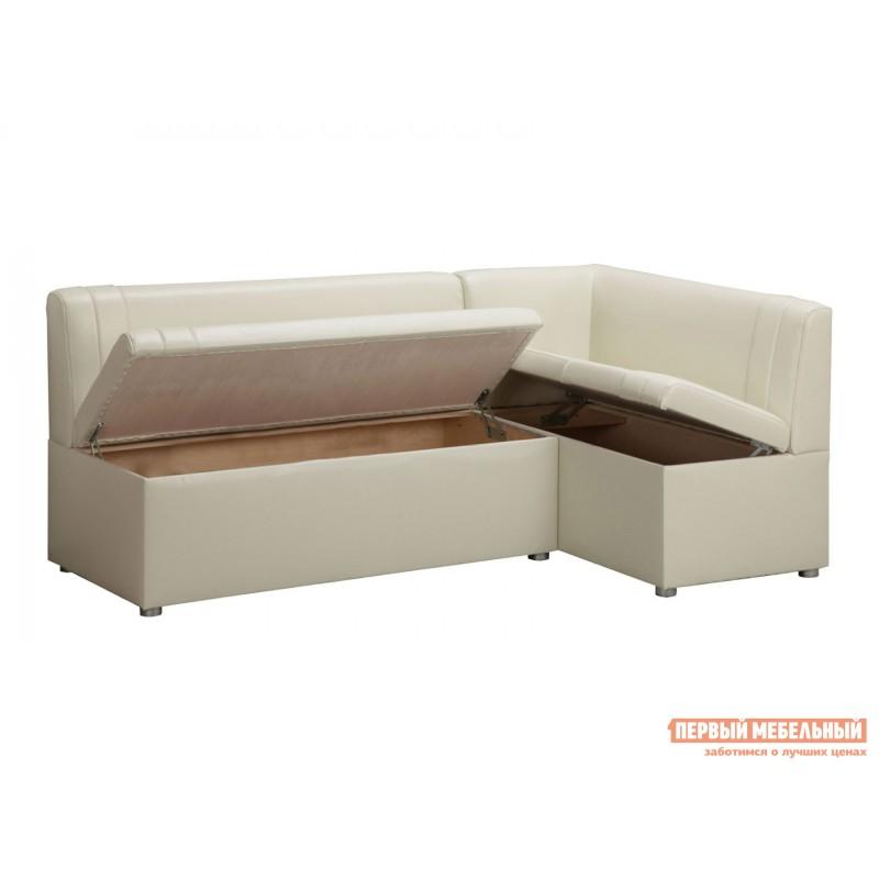 Кухонный уголок  Угловой диван Уют с ящиками Boom Milk, экокожа, Правый (фото 2)