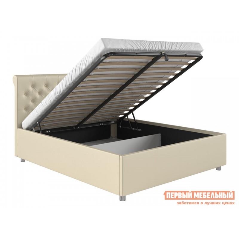 Двуспальная кровать  Кровать с подъемным механизмом Офелия Слоновая кость, экокожа, 1600 Х 2000 мм (фото 2)