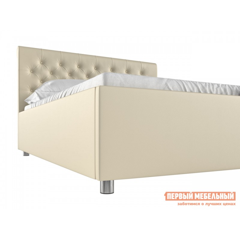 Двуспальная кровать  Кровать с подъемным механизмом Офелия Слоновая кость, экокожа, 1600 Х 2000 мм (фото 3)