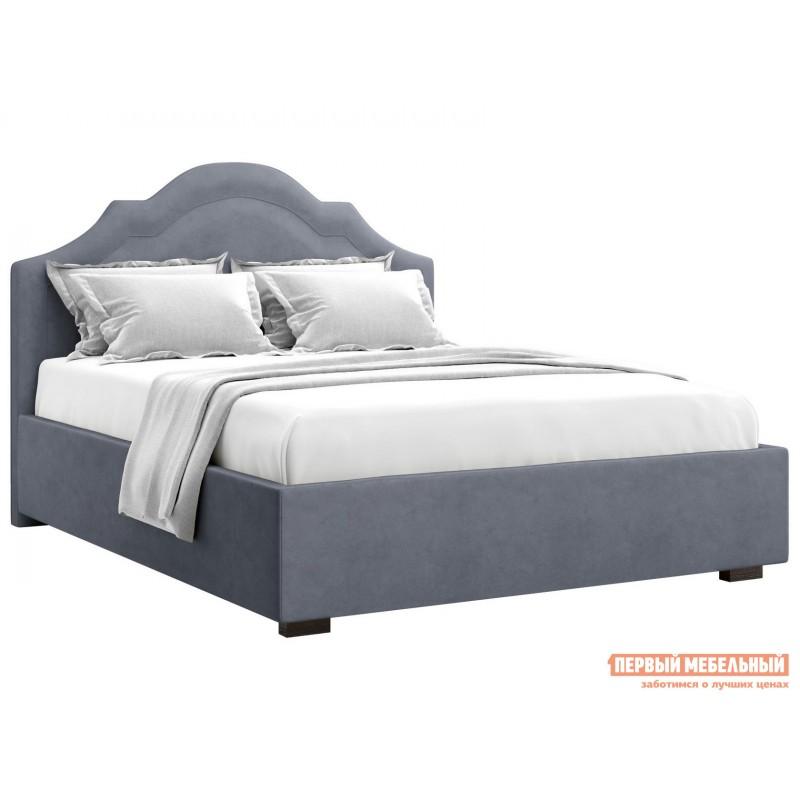 Двуспальная кровать  Мадзоре ПМ Серый, велюр, 1600 Х 2000 мм