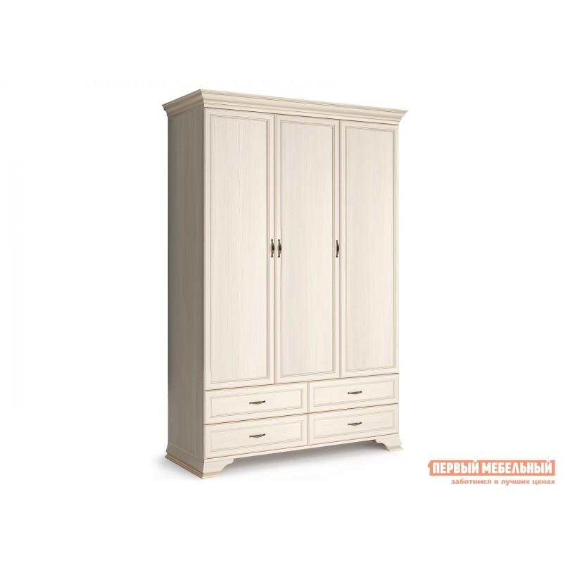 Распашной шкаф  Шкаф 3-х дверный Сиена Бодега белый, патина золото, Без зеркала