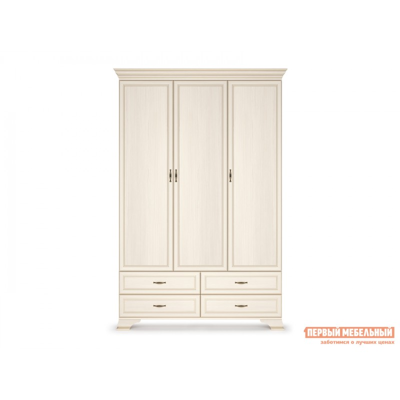 Распашной шкаф  Шкаф 3-х дверный Сиена Бодега белый, патина золото, Без зеркала (фото 2)
