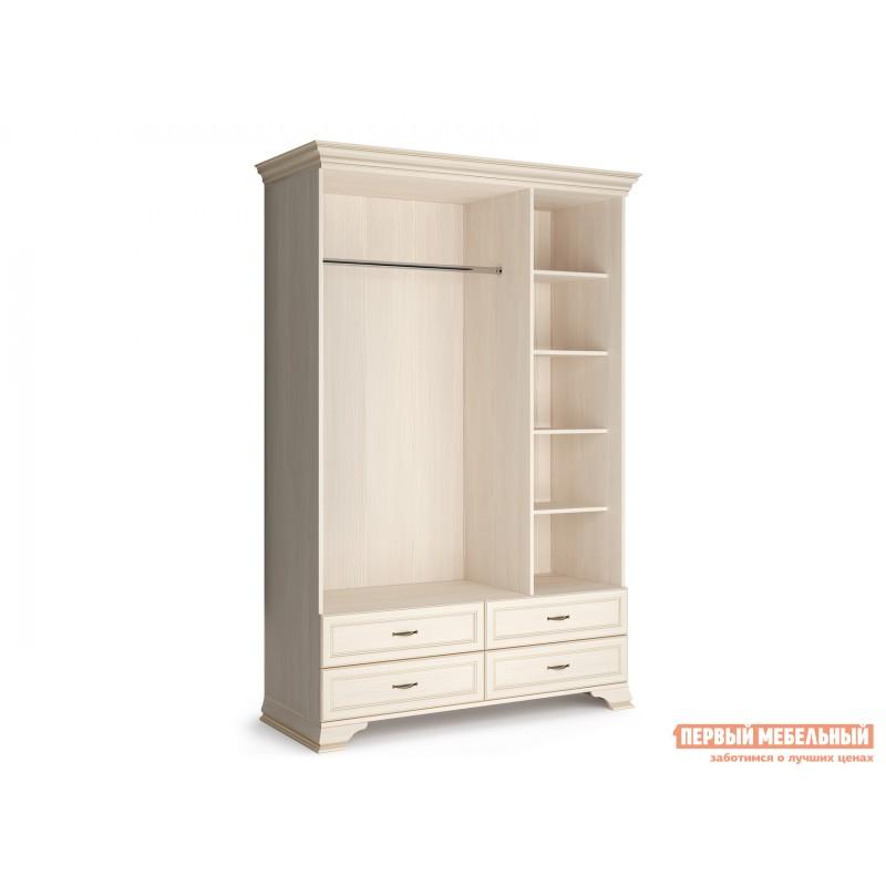 Распашной шкаф  Шкаф 3-х дверный Сиена Бодега белый, патина золото, Без зеркала (фото 4)