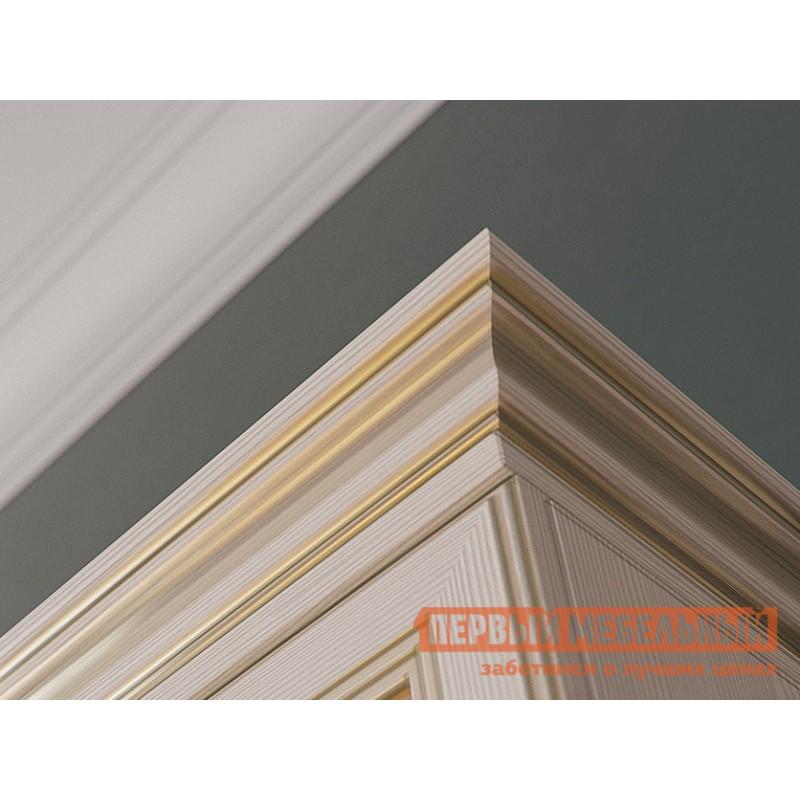 Распашной шкаф  Шкаф 3-х дверный Сиена Бодега белый, патина золото, Без зеркала (фото 5)