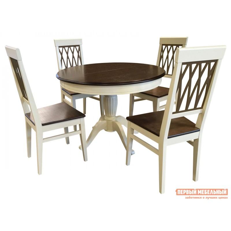 Обеденная группа для столовой и гостиной  Леонардо стол + 4 стула Кристиан Слоновая кость / Орех Темный