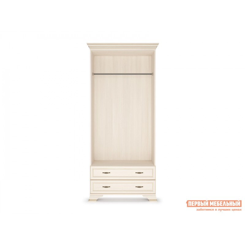 Распашной шкаф  Шкаф 2-х дверный Сиена Бодега белый, патина золото, Без зеркала (фото 4)