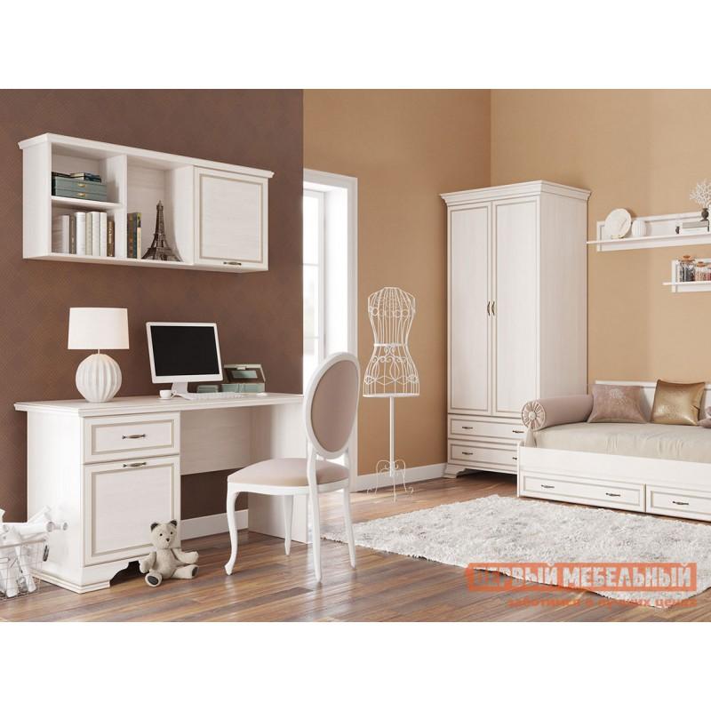 Распашной шкаф  Шкаф 2-х дверный Сиена Бодега белый, патина золото, Без зеркала (фото 6)