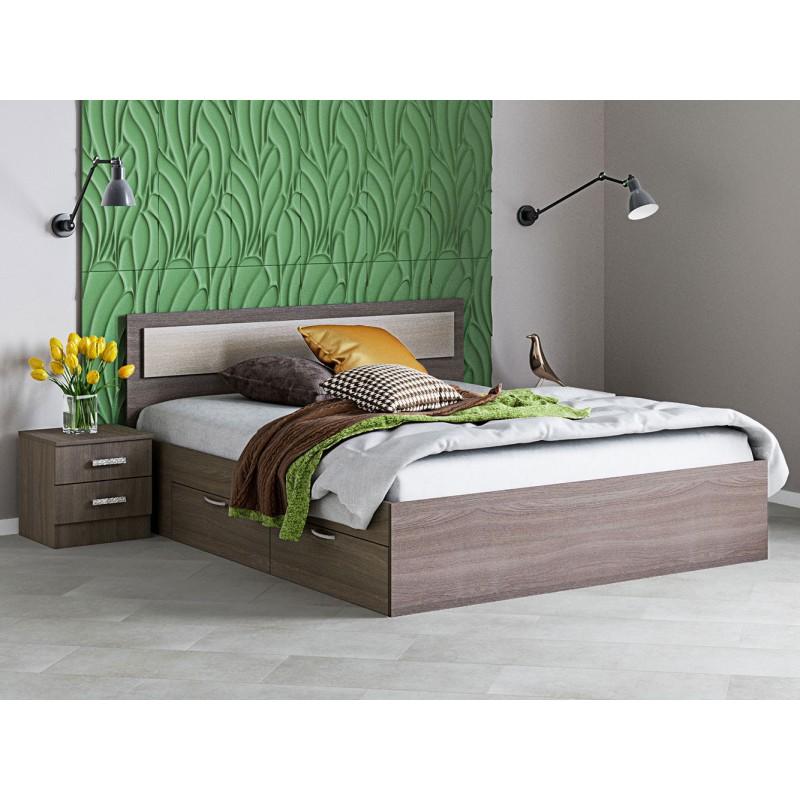 Двуспальная кровать  Кровать Жаклин с ящиками Ясень шимо темный / Ясень шимо светлый, 1400 Х 2000 мм (фото 3)