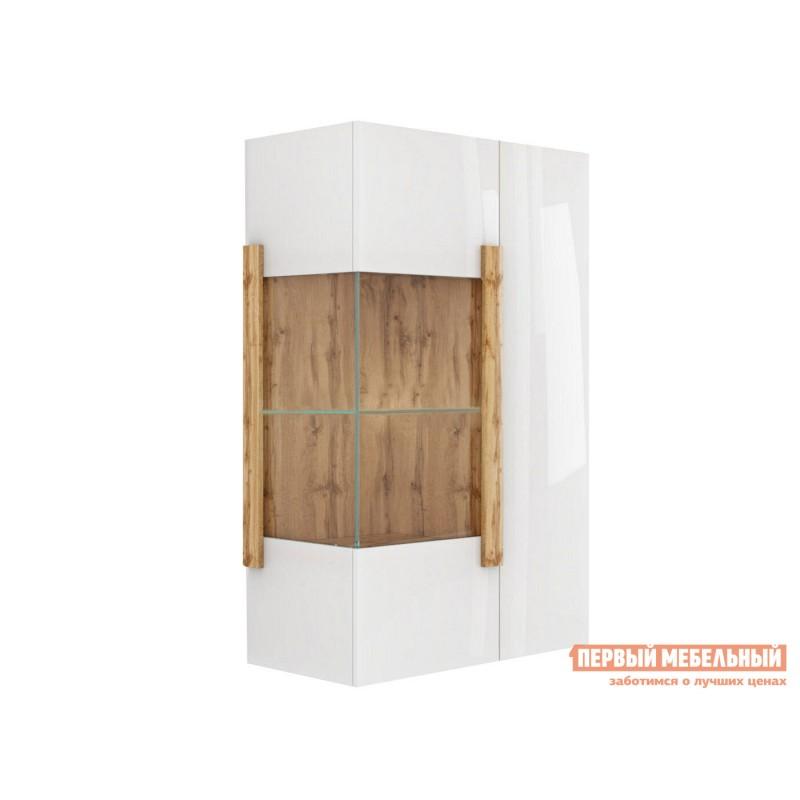 Шкаф-витрина  Витрина навесная 2-х дверная 1902.М1 Дуб Ватан / Белый лак, Без подсветки, Без топа-накладки