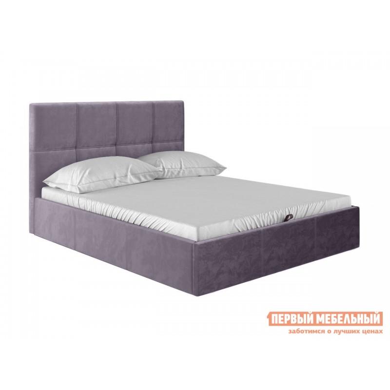 Двуспальная кровать  Верда Лаванда, велюр, 160х200 см