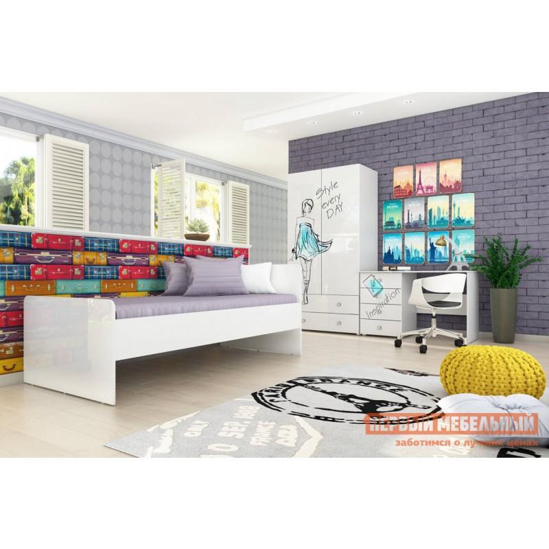 Комплект детской мебели  Модерн К3 Бело-серый / глянец, стиль
