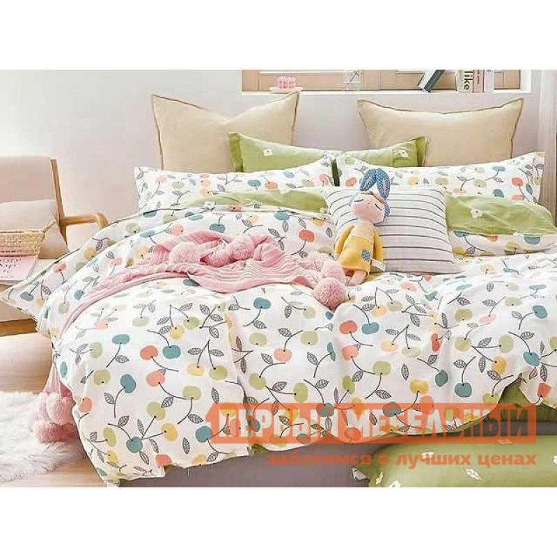 Комплект постельного белья  КПБ сатин Основа Снов белый, вишня Белый, вишня, Евро (наволочки 70х70)