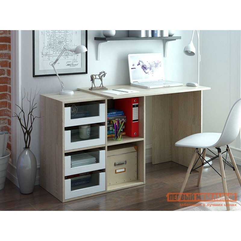 Письменный стол  Прайм-38 Дуб Сонома / Белый (фото 4)