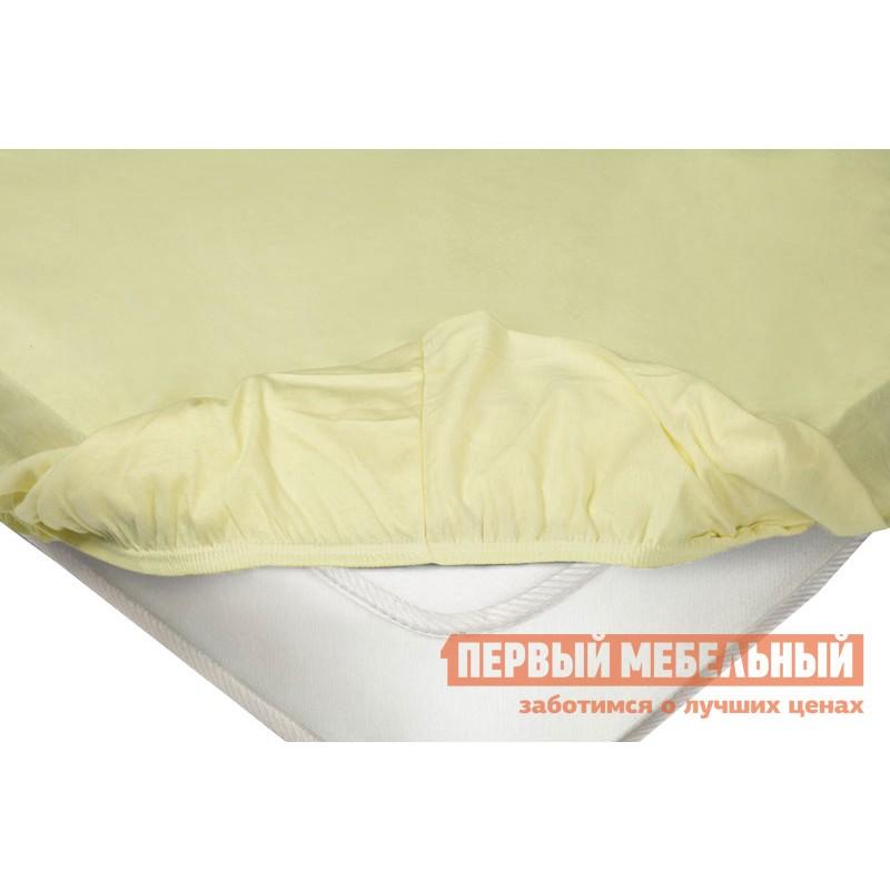 Простыня  Простыня на резинке трикотажная Нежно-жёлтый, 1400 Х 2000 Х 200 мм