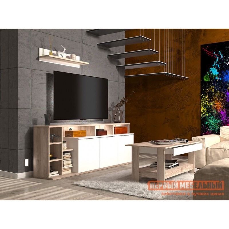 ТВ-тумба  ТВ-тумба Компакт Белый / Каштан найроби, Левый, С подсветкой (фото 2)