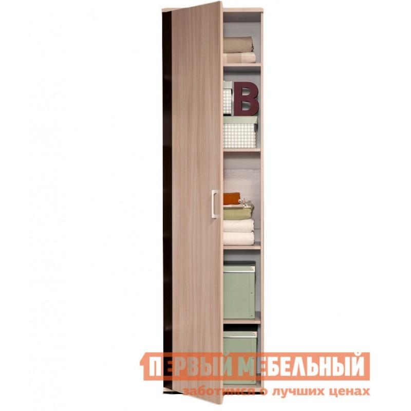 Распашной шкаф  BERLIN 16 Ясень Шимо / Глянец Шоколад, С полками (фото 2)