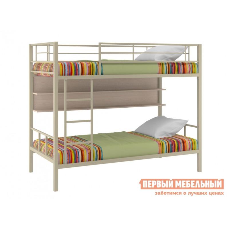 Двухъярусная кровать  Севилья-2 Бежевый / Молочный дуб, С полкой