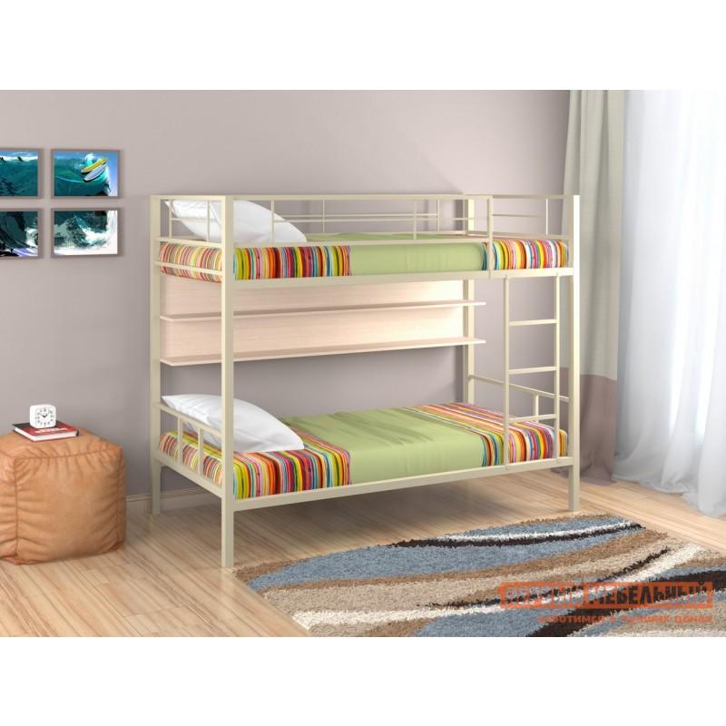 Двухъярусная кровать  Севилья-2 Бежевый / Молочный дуб, С полкой (фото 2)
