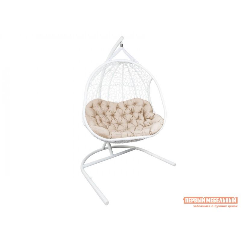 Подвесное кресло  ГЕЛИОС Белый, ротанг / Бежевый, ткань