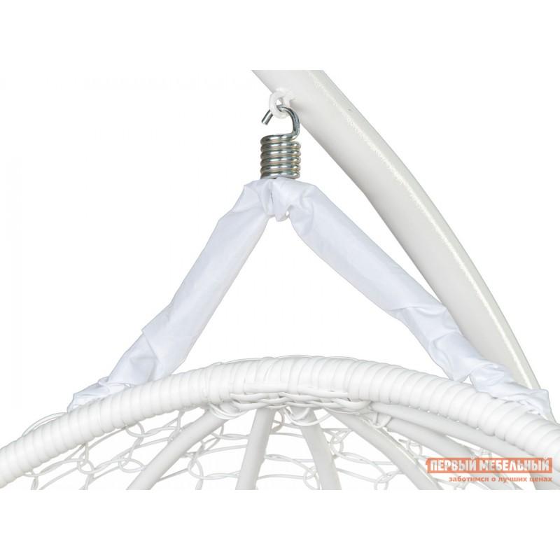 Подвесное кресло  ГЕЛИОС Белый, ротанг / Бежевый, ткань (фото 2)