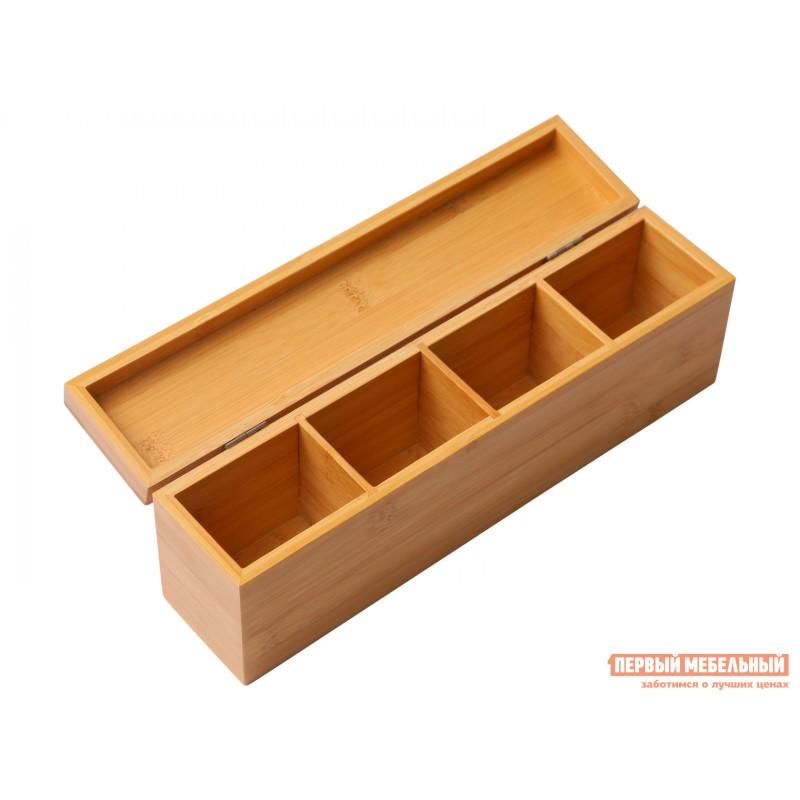 Емкость для хранения  Ящичек для чая, 4 секции, 32*7*10 см, бамбук BRAVO Бамбук