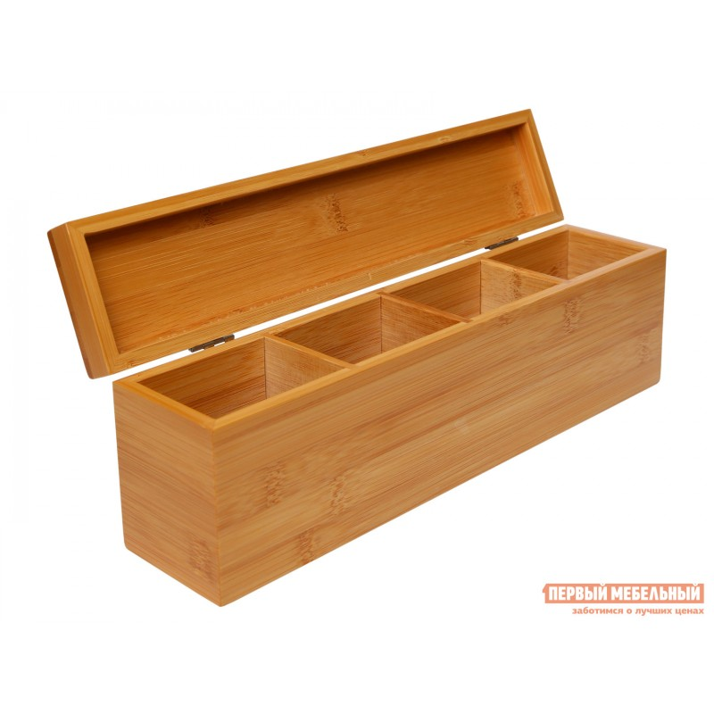 Емкость для хранения  Ящичек для чая, 4 секции, 32*7*10 см, бамбук BRAVO Бамбук (фото 3)