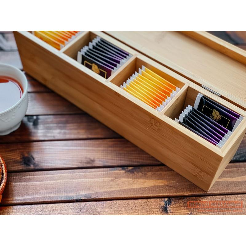 Емкость для хранения  Ящичек для чая, 4 секции, 32*7*10 см, бамбук BRAVO Бамбук (фото 4)