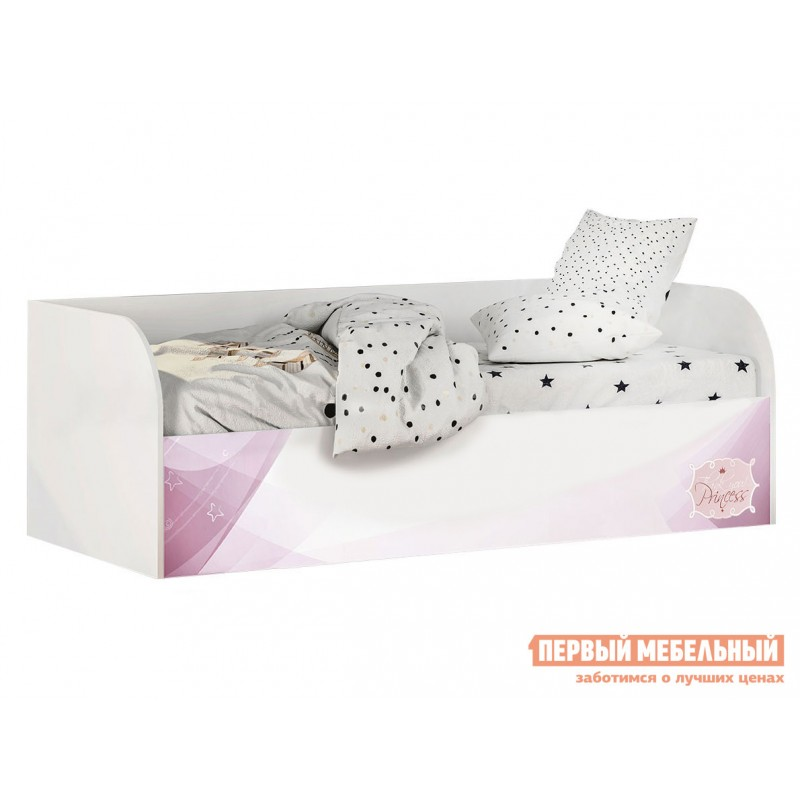 Детская кровать  Трио Кровать детская (с подъёмным механизмом) КРП-01 Белый, рапунцель, Без бортика, Без мягкой спинки, Тиффани, велюр