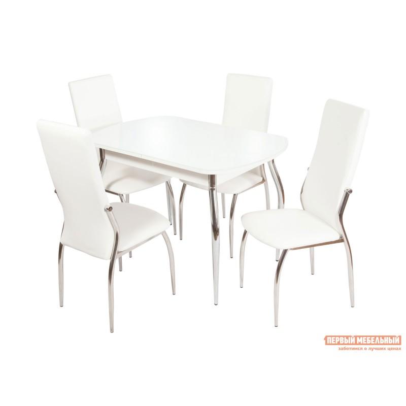 Обеденная группа для столовой и гостиной  Стол Ривьера + 4 стула Мартини Стекло Белое / ЛДСП Белая