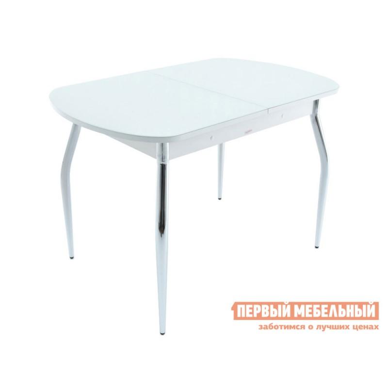 Обеденная группа для столовой и гостиной  Стол Ривьера + 4 стула Мартини Стекло Белое / ЛДСП Белая (фото 2)
