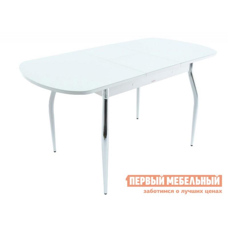 Обеденная группа для столовой и гостиной  Стол Ривьера + 4 стула Мартини Стекло Белое / ЛДСП Белая (фото 3)