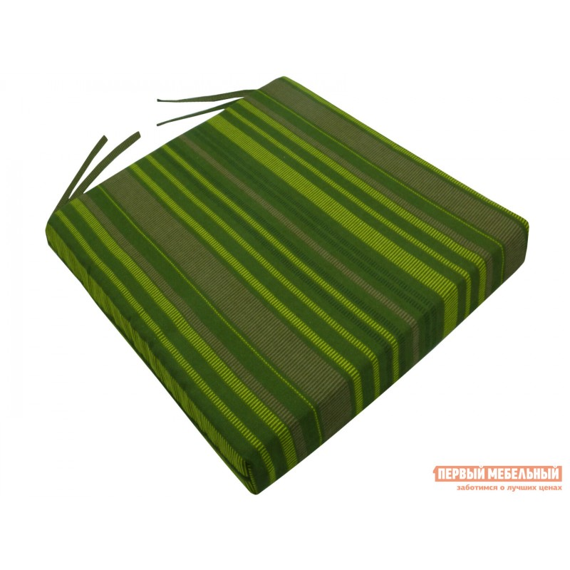 Матрас для шезлонга  Подушка для стула 40х40х5см на молнии, хлопок Зеленая полоска