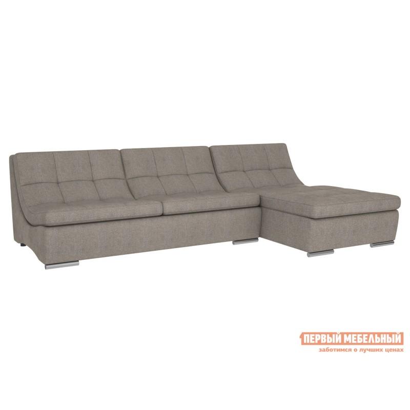 Угловой диван  Модульная система Сан-Диего, вариант 1 Серо-бежевый, рогожка