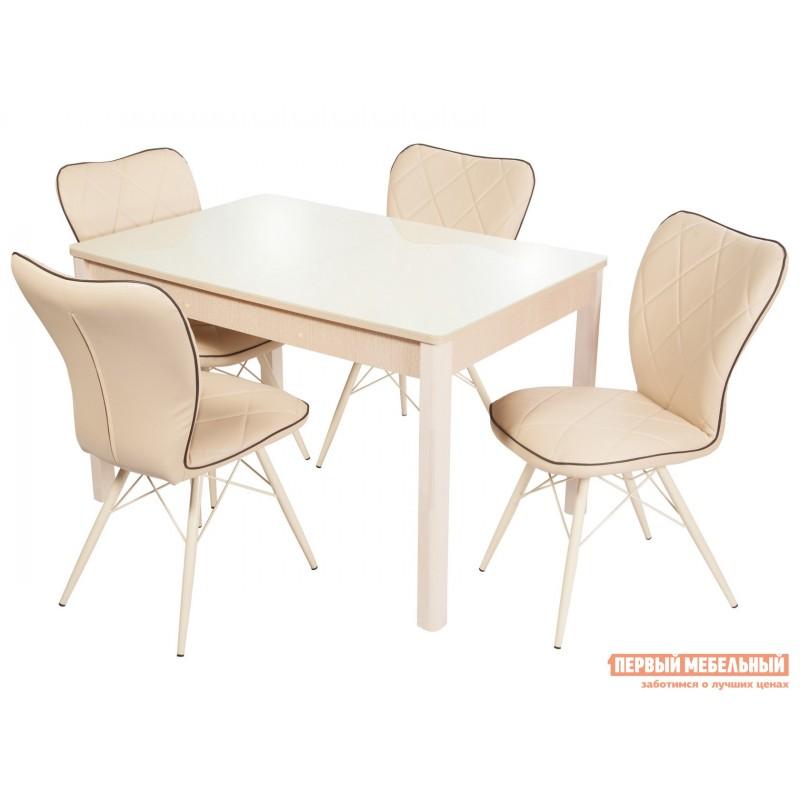 Обеденная группа для столовой и гостиной  Стол Гамбург + 4 стула Риоха Молочный, Дуб выбеленный / Батлер 02; Nitro Brown; Молочный