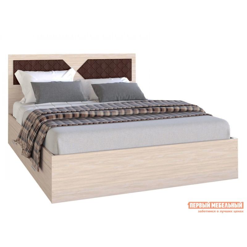 Двуспальная кровать  Кровать Вероника Ясень шимо светлый / Лиственница темная, 1400 Х 2000 мм