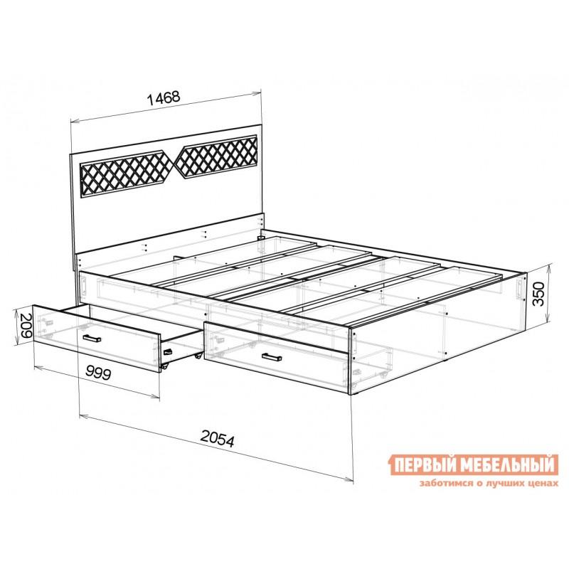 Двуспальная кровать  Кровать Вероника Ясень шимо светлый / Лиственница темная, 1400 Х 2000 мм (фото 3)