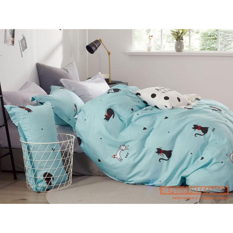 Комплект постельного белья  КПБ сатин Основа Снов голубой, кошки Китти, сатин, Полутороспальный