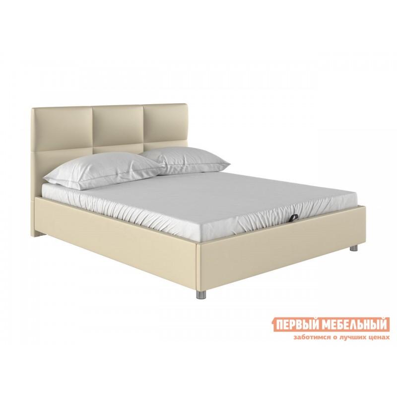 Двуспальная кровать  Кровать с мягким изголовьем Агата Слоновая кость, экокожа, 160х200 см