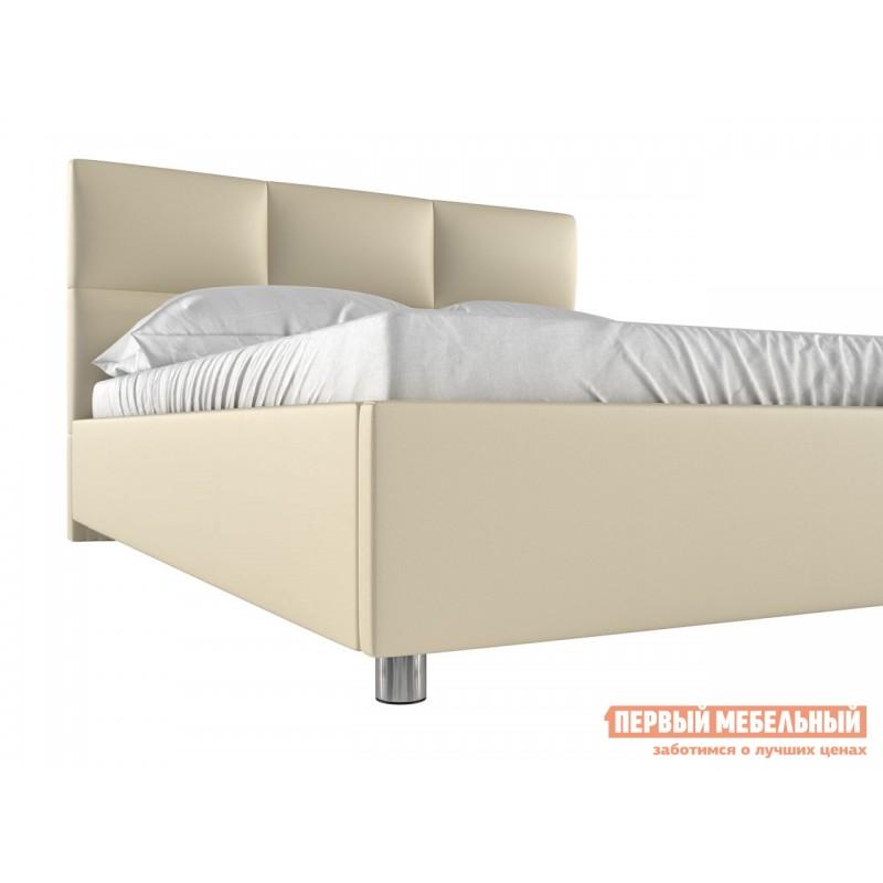 Двуспальная кровать  Кровать с мягким изголовьем Агата Слоновая кость, экокожа, 160х200 см (фото 2)