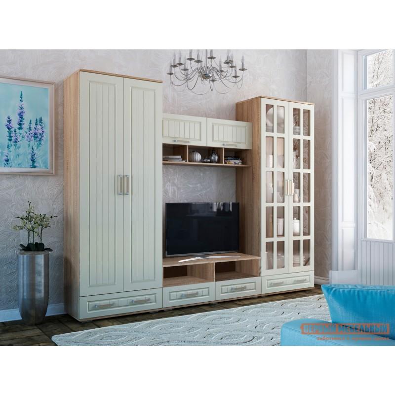 Распашной шкаф  Шкаф 2-х створчатый Маркиза Дуб Сонома / Крем Сатин, С полками (фото 4)