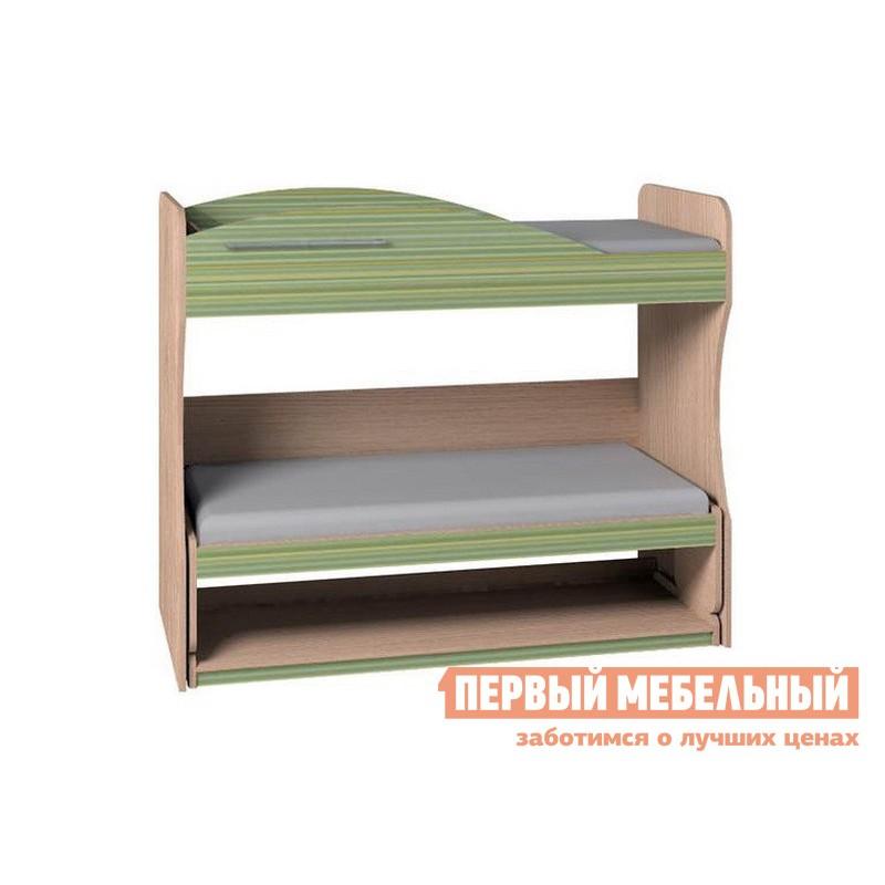 Кровать-чердак  Калейдоскоп Дуб Отбеленый / Зеленая радуга