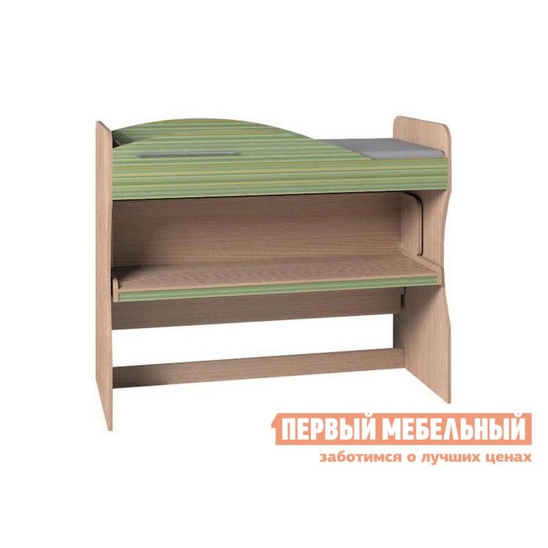 Кровать-чердак  Калейдоскоп Дуб Отбеленый / Зеленая радуга (фото 2)