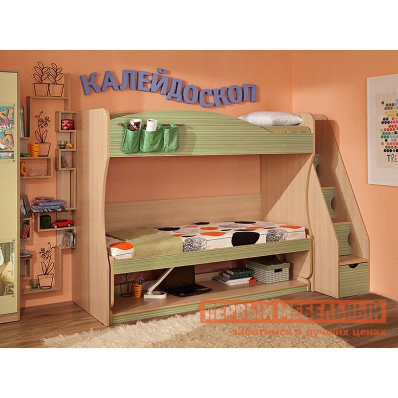 Кровать-чердак  Калейдоскоп Дуб Отбеленый / Зеленая радуга (фото 3)