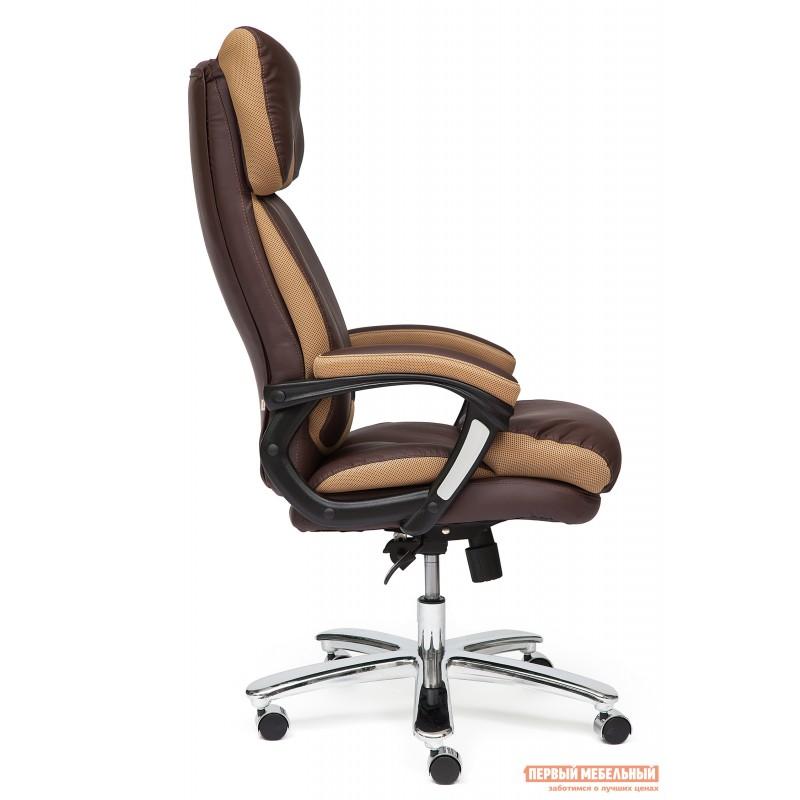 Кресло руководителя  GRAND Кож/зам/ткань, коричневый/бронза, 36-36/21 (фото 2)