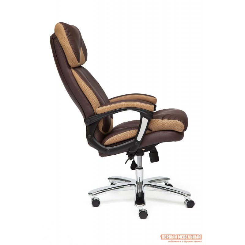 Кресло руководителя  GRAND Кож/зам/ткань, коричневый/бронза, 36-36/21 (фото 3)