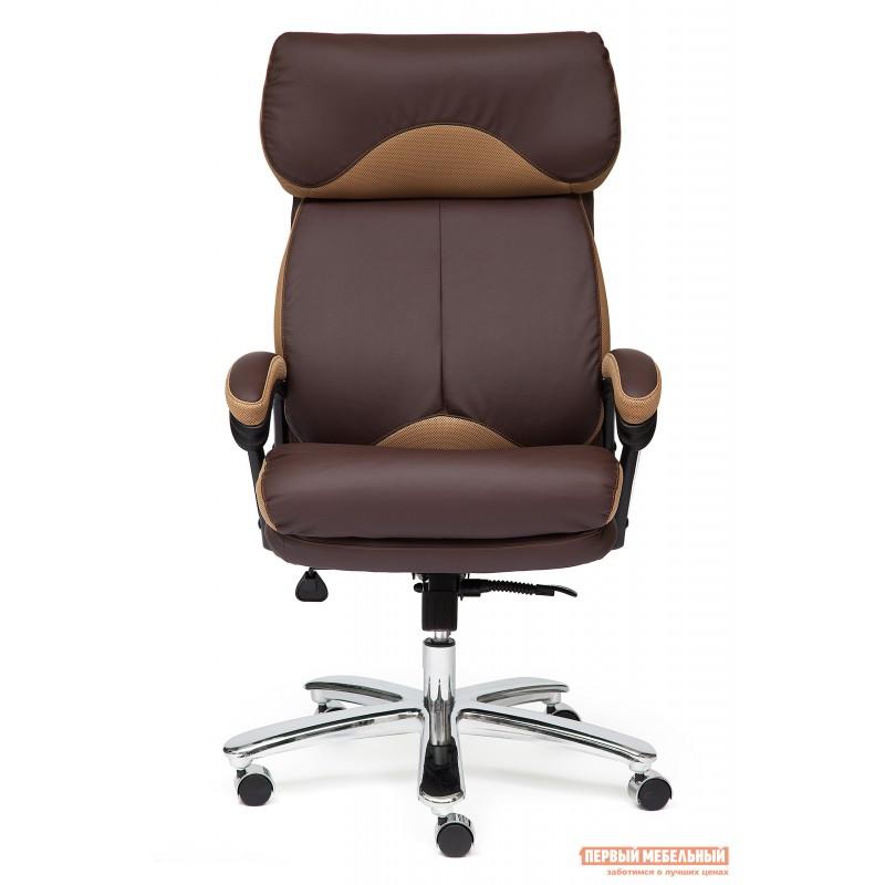 Кресло руководителя  GRAND Кож/зам/ткань, коричневый/бронза, 36-36/21 (фото 4)