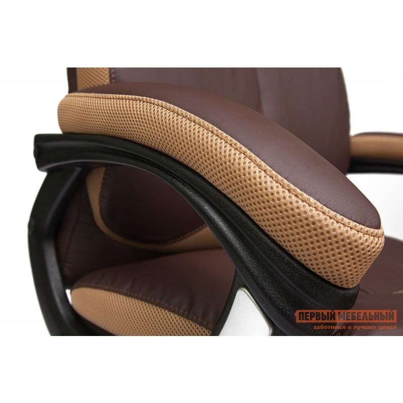 Кресло руководителя  GRAND Кож/зам/ткань, коричневый/бронза, 36-36/21 (фото 6)