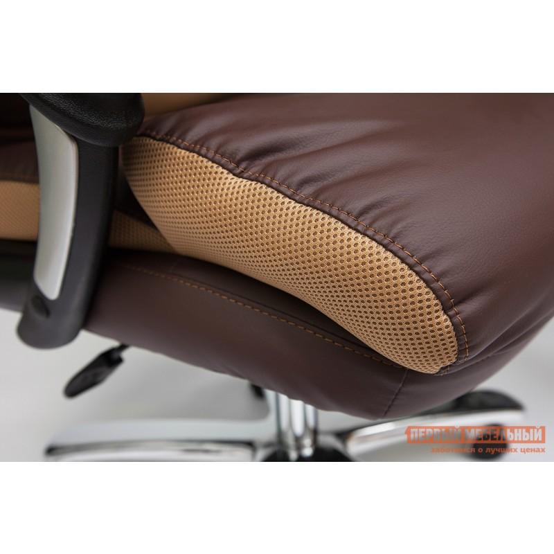 Кресло руководителя  GRAND Кож/зам/ткань, коричневый/бронза, 36-36/21 (фото 7)
